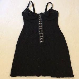 Elegant moments black lace slip size small